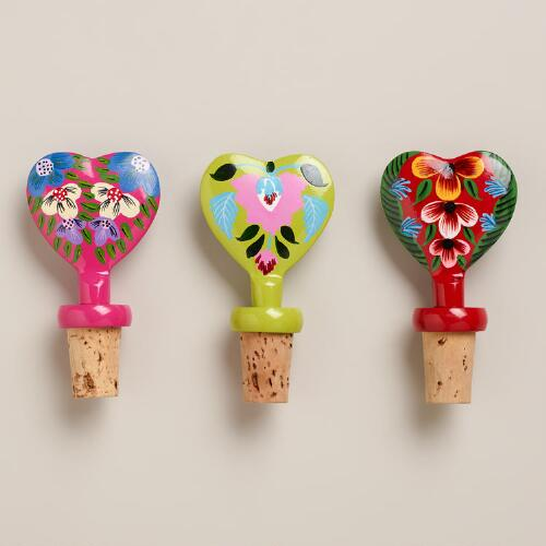 Hand-Painted Heart Wine Bottle Stoppers, Set of 3