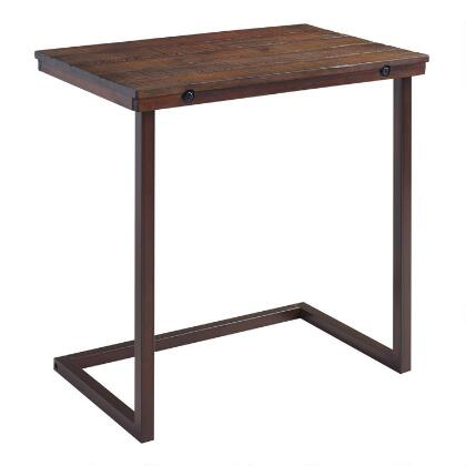 Oversized Wood and Metal Laptop Table