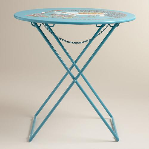 Round White Marble Milan Accent Table By World Market: Blue Round Metal Accent Table