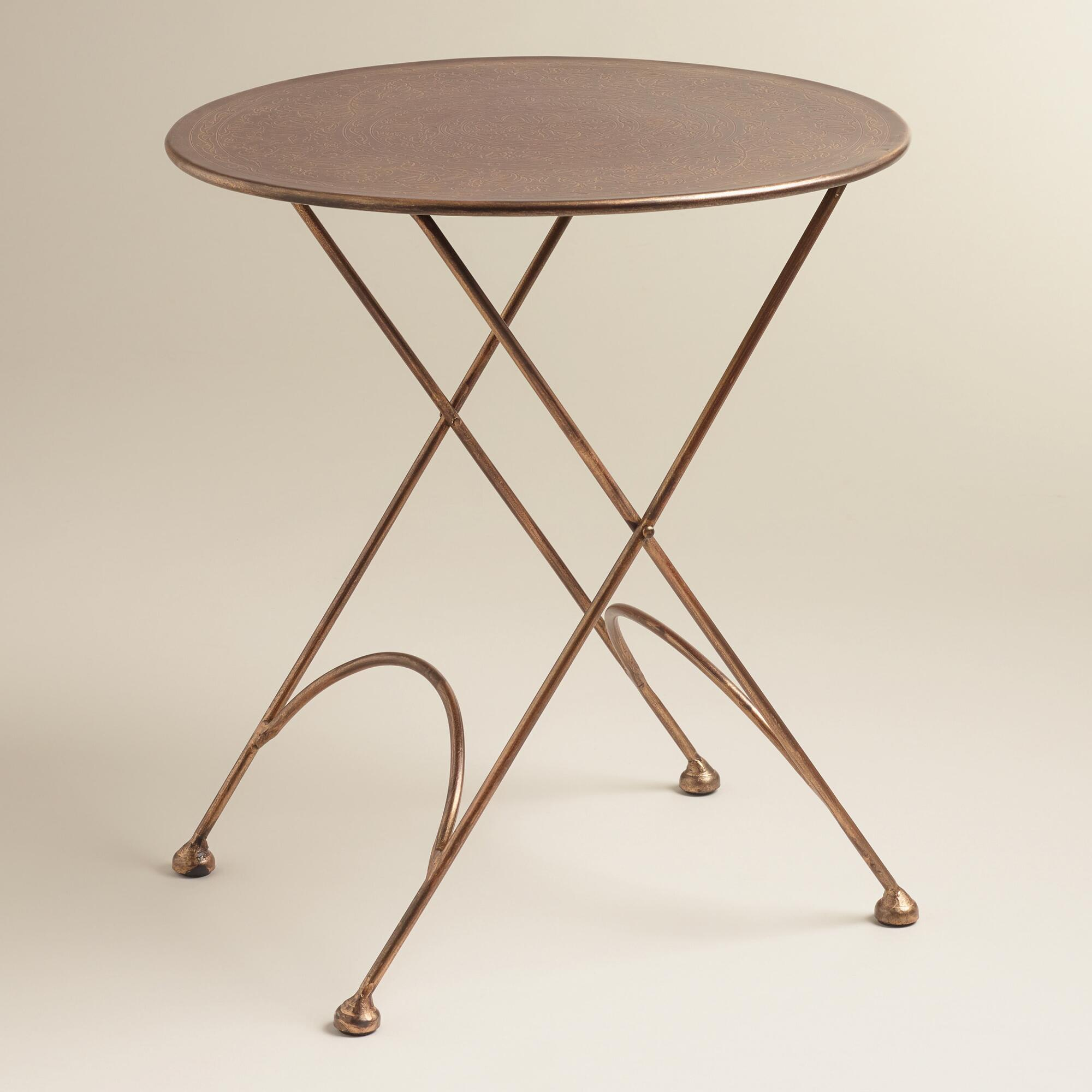 round ariana metal accent table world market. Black Bedroom Furniture Sets. Home Design Ideas