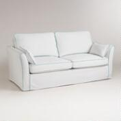 White and Blue Luxe Sofa Slipcover