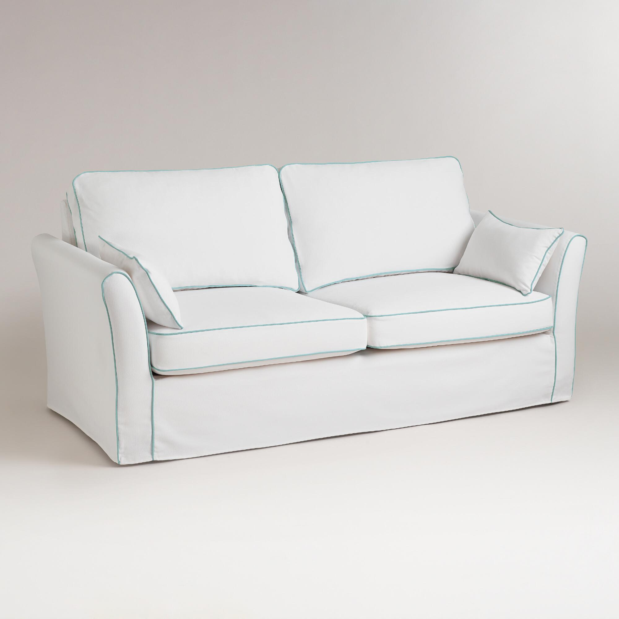 White and blue luxe sofa slipcover world market Blue loveseat slipcover