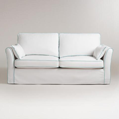 White and blue luxe sofa slipcover world market White loveseat slipcovers