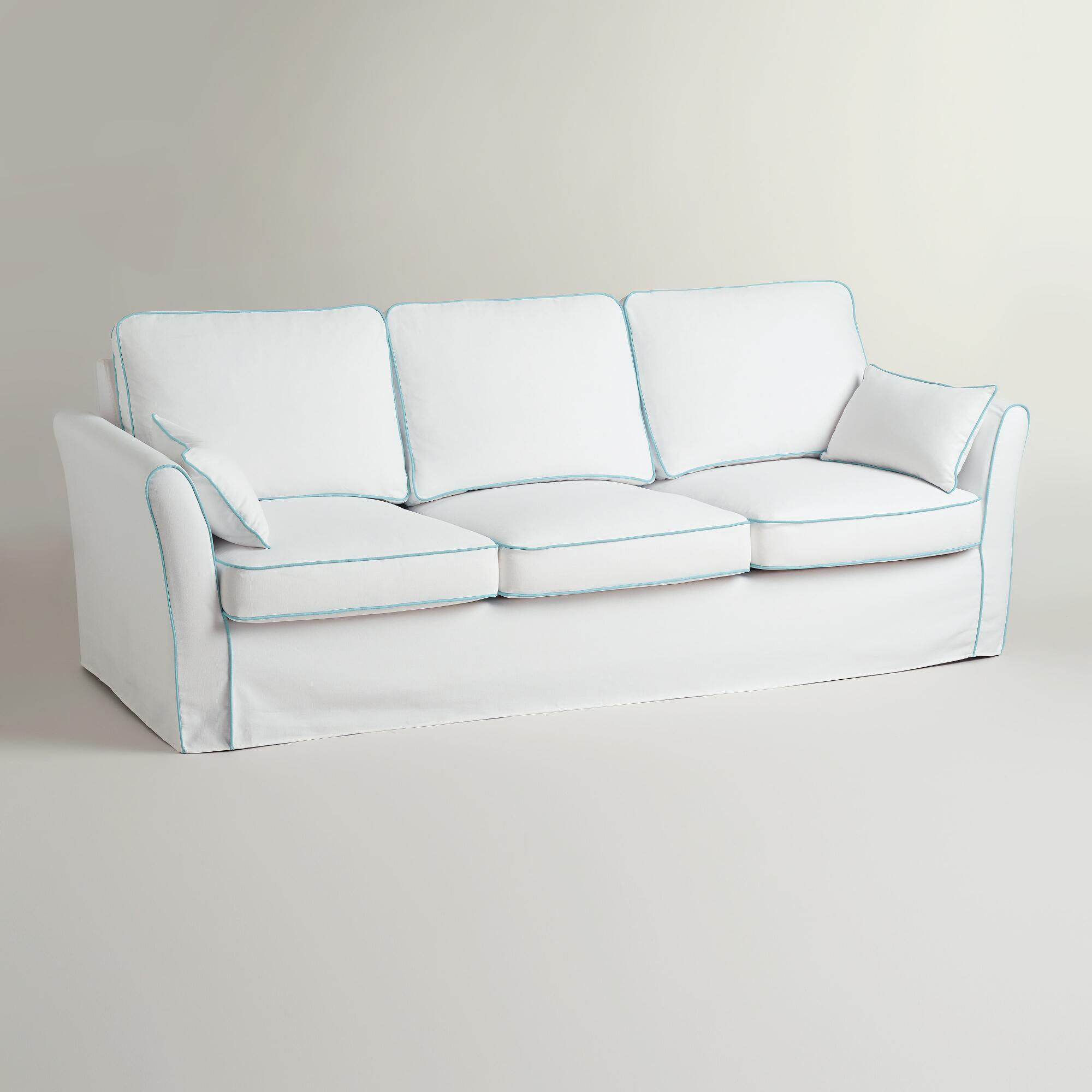 White and blue luxe 3 seat sofa slipcover world market Blue loveseat slipcover
