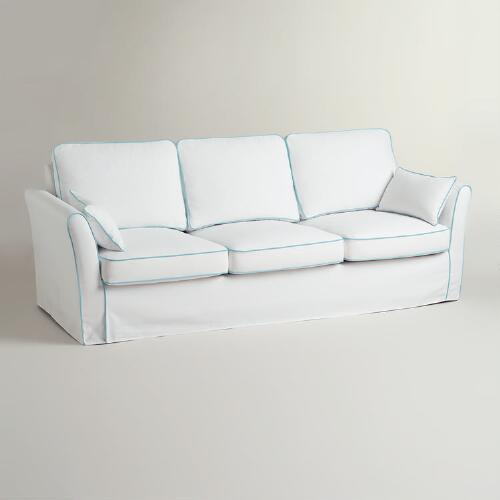 White and Blue Luxe 3-Seat Sofa Slipcover