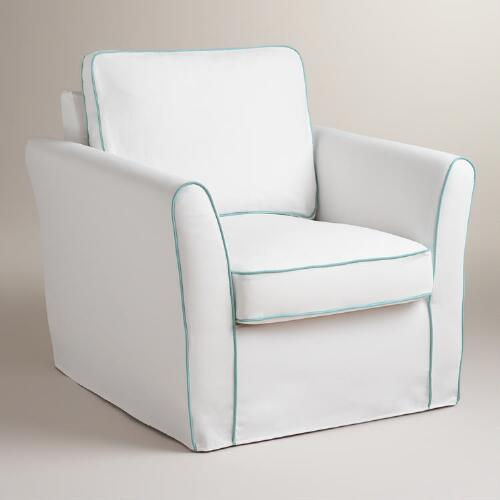 White and Blue Luxe Chair Slipcover