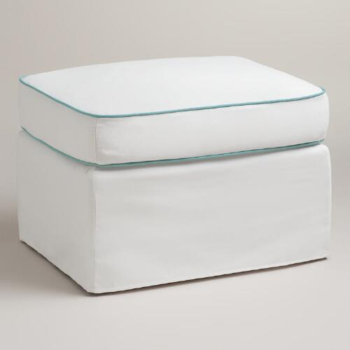 White and Blue Ottoman Slipcover