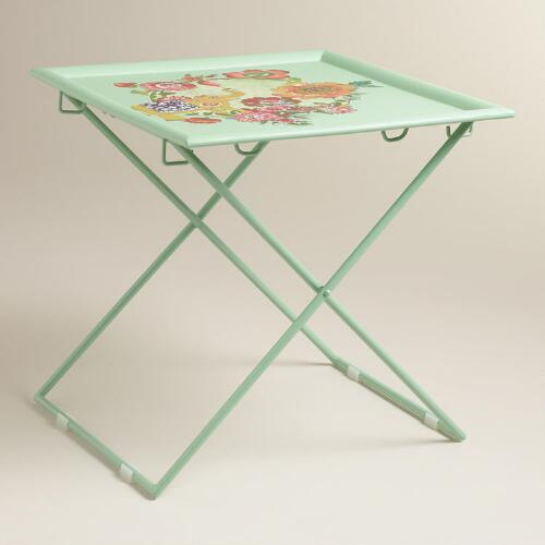 Green Square Metal Accent Table