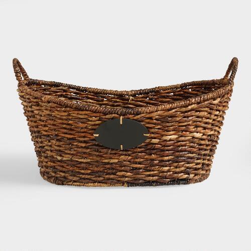 Large Oval Madras Chalkboard Basket