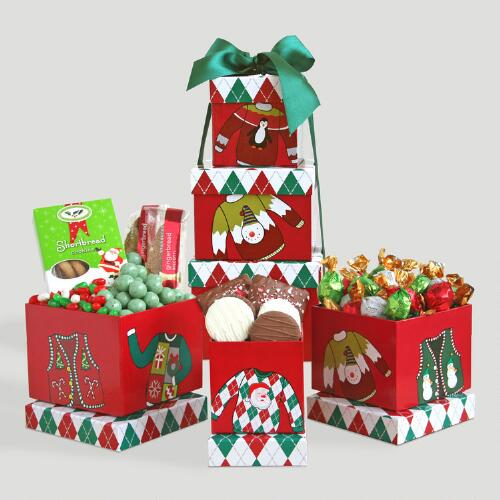 """Ugly Sweater"" Holiday Snack Tower"
