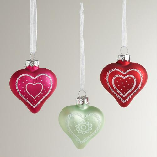 Glass Valentine Heart Ornaments, Set of 3