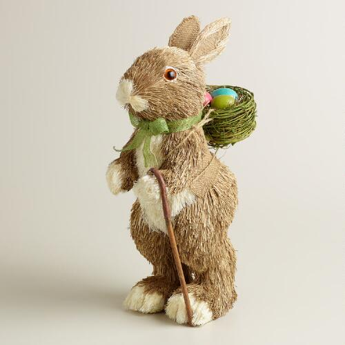 Natural Fiber Papa Bunny with Egg Basket