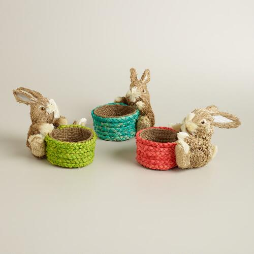Natural Fiber Bunnies with Baskets, Set of 3