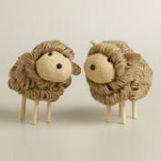 Jute and Burlap Lambs, Set of 2