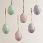 Resin Egg Ornaments, Set of 6