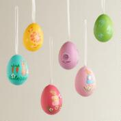 6-Piece Painted Egg Ornaments in Crates, Set of 2