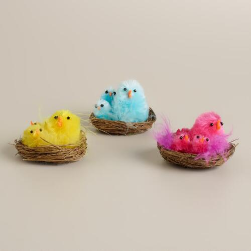 2-Piece Boxed Rayon Chick Families in Nests, Set of 3