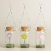 Felt Flower in Glass Bottle Ornaments, Set of 3