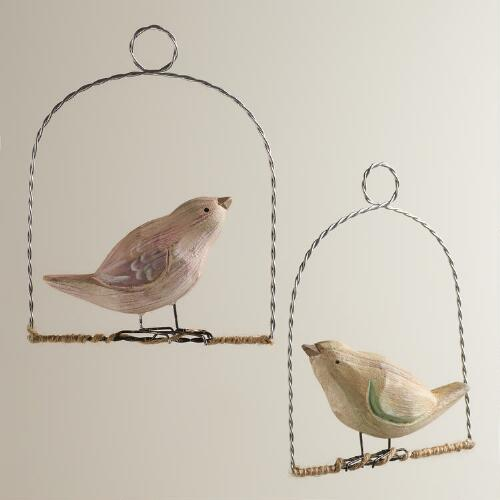 Wood Bird on Perch Ornaments, Set of 2