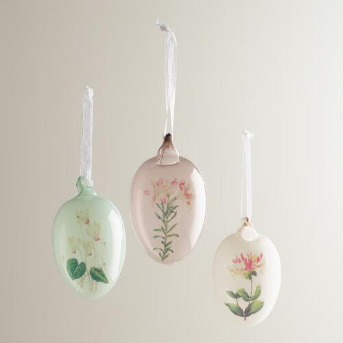 Glass Botanical Egg Ornaments, Set of 3
