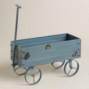 Blue Metal Wagon Decor