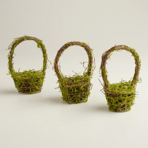 Mini Mossy Baskets, Set of 3
