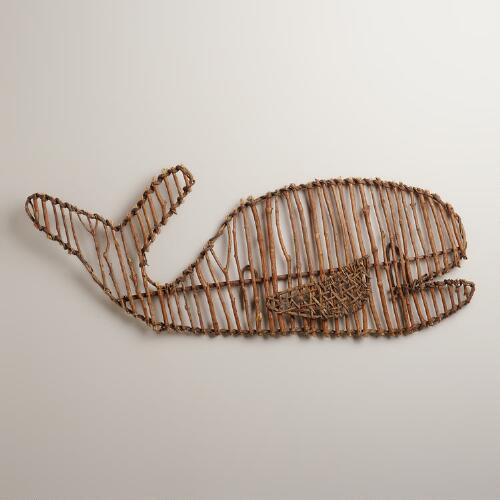 Twig Whale Wall Decor