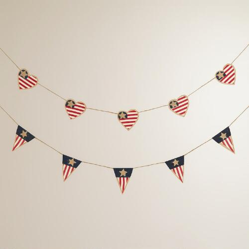 Americana Fabric Garlands,  Set of 2