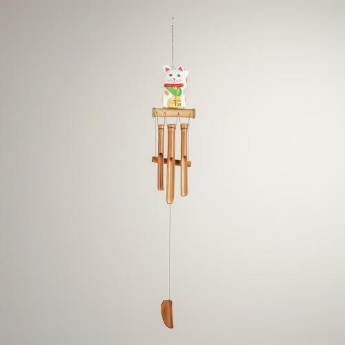 Wood Lucky Cat Wind Chime