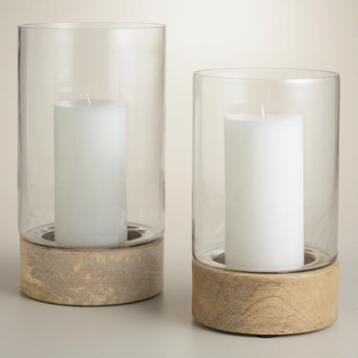 Natural Wood Base Glass Hurricane Candleholders