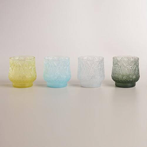 Cut Glass Votive Candleholders, Set of 4