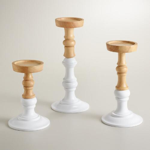 Lena Wood Pillar Candleholders