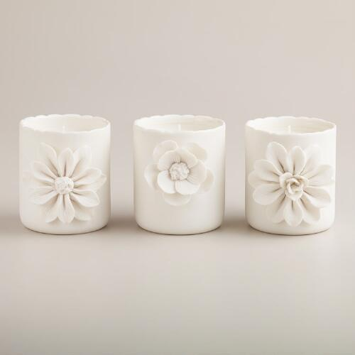 Ceramic Floral Tumbler Candles, Set of 3