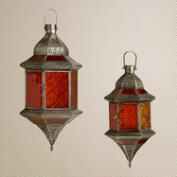 Warm Sabita Embossed Glass Hanging Lanterns