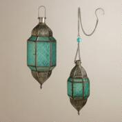 Blue Sabita Embossed Glass Hanging Lanterns