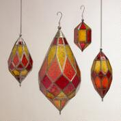 Warm Multicolor Sabita Embossed Glass Hanging Lanterns