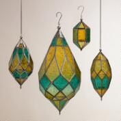 Cool Multicolor Sabita Embossed Glass Hanging Lanterns