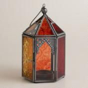Warm Multicolor Sabita Embossed Glass Tabletop Lantern