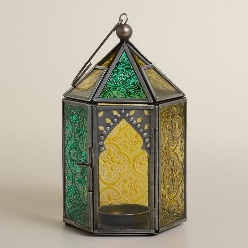 Cool Multicolor Sabita Embossed Glass Tabletop Lantern