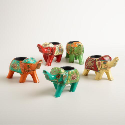 Nomad Elephant Tealight Holders, Set of 5