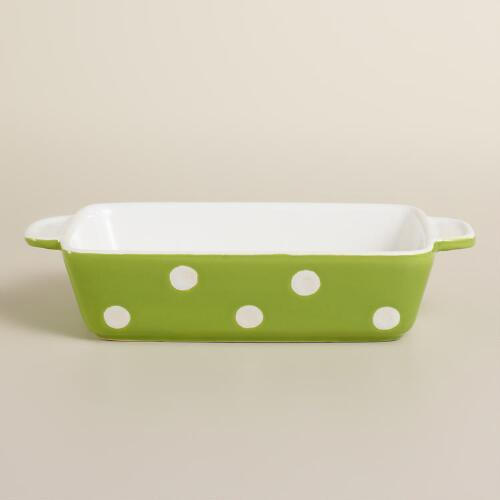 Mini Rectangular Green Dots Baker