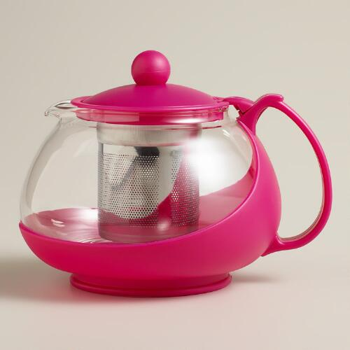 Pink Glass Infuser Teapot
