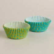 Blue and Green Dots Cupcake Liners