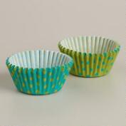 Blue and Green Dots Mini Cupcake Liners
