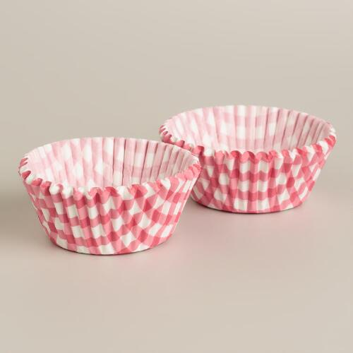Pink Gingham Cupcake Liners, 50-Count