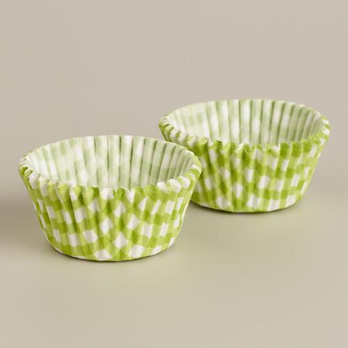 Green Gingham Mini Cupcake Liners