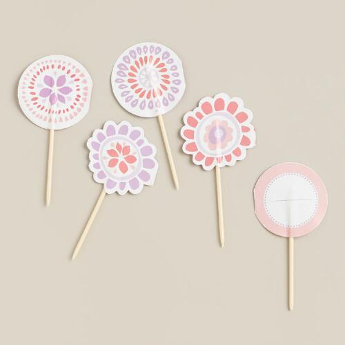 Pink Spring Cupcake Picks, 12-Count