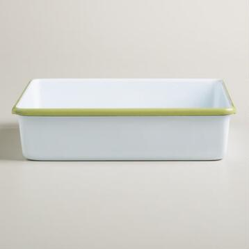 Green Square Enamel Baker