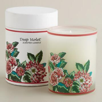 Boxed Violet and Vanilla Floral Tumbler Candle