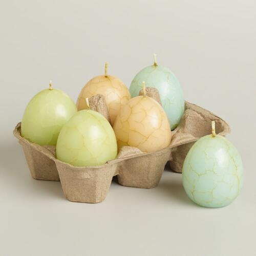 Crackle Egg Candles, Set of 6
